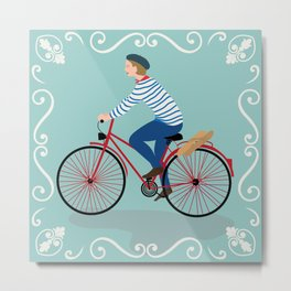 Vintage Style Frenchman on a Bicycle with Baguette Art Print Metal Print