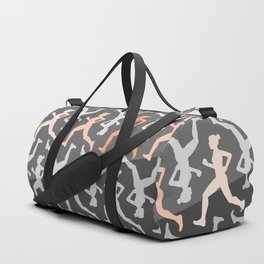 Grey and Pastel Running Girl Pattern Duffle Bag