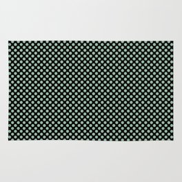 Black and Grayed Jade Polka Dots Rug