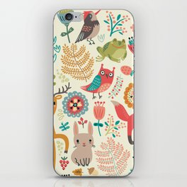 Woodland Animal Pattern iPhone Skin