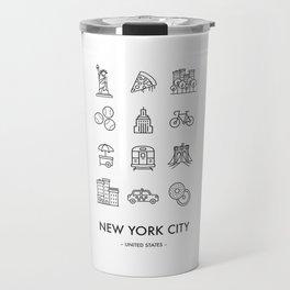 New York City Iconography Travel Mug