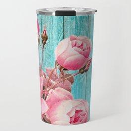 Pink Roses On Turquoise Blue Wood Travel Mug
