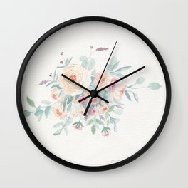 Loose Pastel Flowers Watercolor Wall Clock