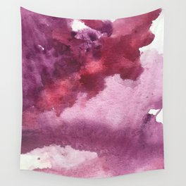 Blushing [5]: a minimal abstract watercolor and ink piece in shades of purple and red Wall Tapestry