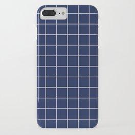 Indigo Navy Blue Grid iPhone Case