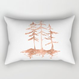 Three Sisters Trees Rose Gold on White Rectangular Pillow