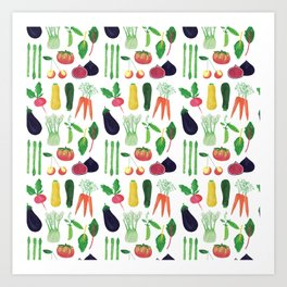 Farmers Market Produce Pattern Art Print