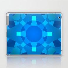 Blue Neon Floral Mandala Pattern Laptop & iPad Skin