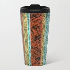 Tribal Scratch Stripes Orange Turquoise Straw Yellow Metal Travel Mug