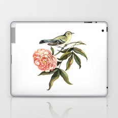 Watercolor illustration with bird and flower Laptop & iPad Skin