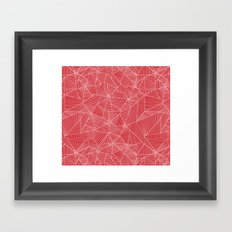Spiderwebs - Webs on red background Framed Art Print