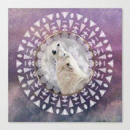 Mandala Solar Wolf Canvas Print