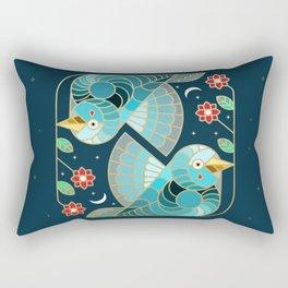 Beautiful Art Deco Midnight Bluebirds And Blossoms Rectangular Pillow