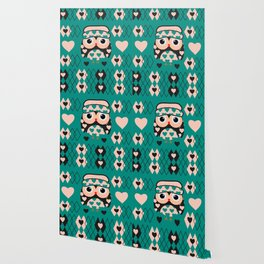 Owl and heart pattern Wallpaper