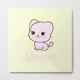 Pastel Kitten Kawaii Metal Print