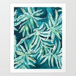 SANTA CRUZIN' Navy Tropical Palm Leaves Art Print