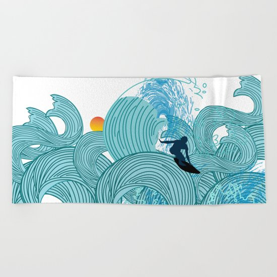 surfing 2 Beach Towel