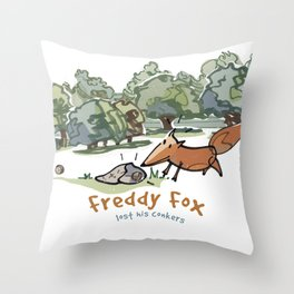 Freddy Fox Lost His Conkers Cover Throw Pillow