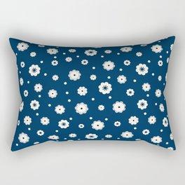 Beige flowers and dots on a dark blue Rectangular Pillow