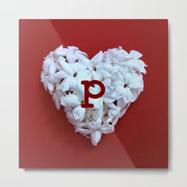Red Monogrammed Heart P Metal Print