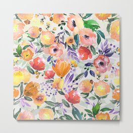 Colorful Mix Flowers Watercolors Floral Collage Metal Print