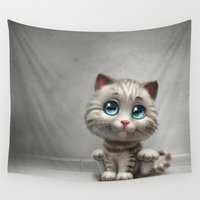 kitten Wall Tapestries featuring Kitten by Antracit