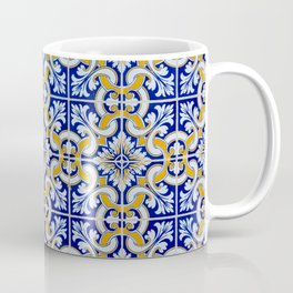 Close-up of blue, white and yellow ceramic wall tiles in Tavira, Portugal Coffee Mug