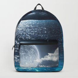 Magnificent Marvelous Bright Full Moon Above Cloudy Sea At Night HD Backpack