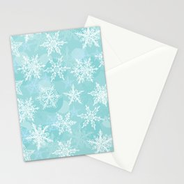 blue winter background with white snowflakes Stationery Cards