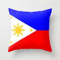 philippines Throw Pillows featuring Philippines country flag by tony tudor