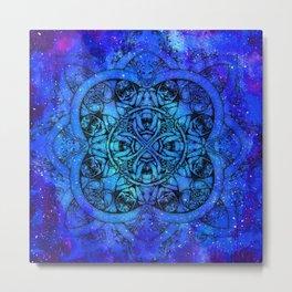 Doctor Who Clockwork Droid Mandala x Watercolor Nebula Metal Print