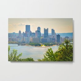 Pittsburgh City View Three Rivers Metal Print