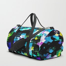 psychedelic geometric square pixel pattern abstract background in blue pink yellow Duffle Bag