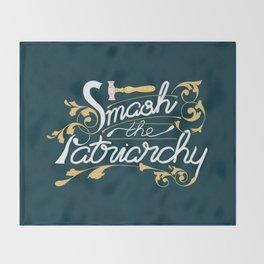 Smash the Patriarchy Feminist Art Nouveau Calligraphy Illustration Throw Blanket