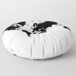 Black Ink World Map Floor Pillow