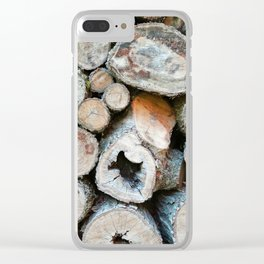 Rustic Beige Brown Logs on Woodpile Clear iPhone Case