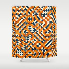 Orange Navy Color Overlay Irregular Geometric Blocks Square Quilt Pattern Shower Curtain