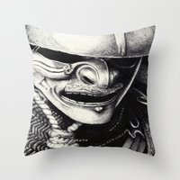 samurai Throw Pillows featuring Samurai  by Mjenai