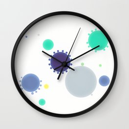 Minimalist Blue Teal Grey  Dots Wall Clock