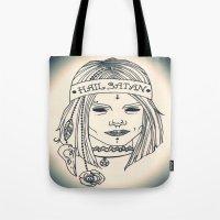 satan Tote Bags featuring Hail Satan! by Swimming Bell