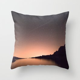Mountain Lake Landscape with Shooting Star Throw Pillow