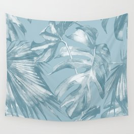 Island Dream Teal Palm Leaves Wall Tapestry