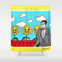 pee wee Shower Curtains featuring Pee Wee's Playhouse by Jaime Knight Art