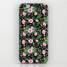 Wild Roses on Black iPhone Skin