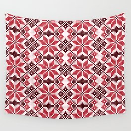 Romanian Traditional Embroidery - Red Wall Tapestry