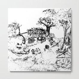 Little House - Lithograph Metal Print