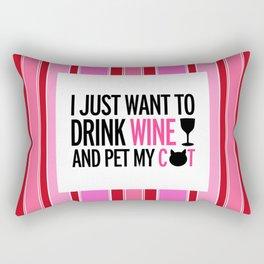 Drink Wine And Pet My Cat Rectangular Pillow