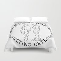 emma watson Duvet Covers featuring holmes and watson stamp by Emma Harckham