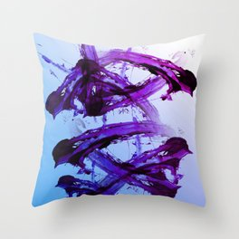 Soft Blue and Magenta Action Painting Throw Pillow