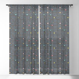 Pac-Man Retro Arcade Video Game Pattern Design Sheer Curtain